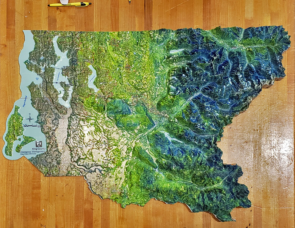 Photo of a 3D printed map of King County
