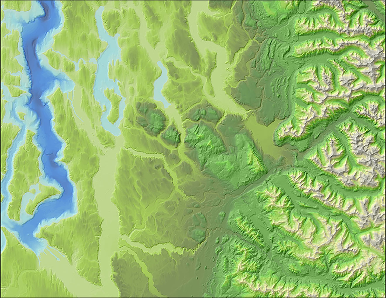 Lidar-derived hillshading with bathymetric and elevation color tints applied