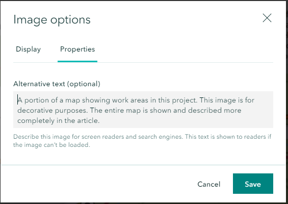 Screen shot of sample alternate text entry to describe a photo